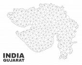 Abstract Gujarat State Map Isolated On A White Background. Triangular Mesh Model In Black Color Of G poster