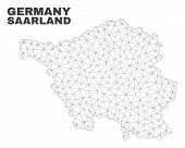 Abstract Saarland Land Map Isolated On A White Background. Triangular Mesh Model In Black Color Of S poster