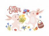 Easter Greeting Card Template With Pair Of Cute Funny Bunnies Or Rabbits Collecting Spring Flowers A poster