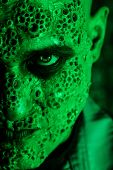 A close up portrait of a sick scientist after a failed experiment in the green light. desperation, h poster