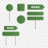 Green Road Sign Set. Sign Street. Road Green Vector Sign. Arrow Blank Sign poster