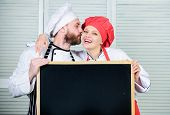 Couple With Blackboard For Advertisement. Lovely Family At Kitchen. Family Restaurant. Family Day. C poster