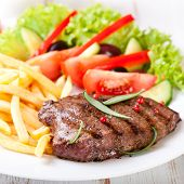 picture of french_fried  - Grilled beefsteak with french fries - JPG