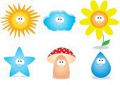 image of face-fungus  - set of vector character of children - JPG