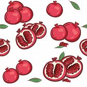 Seamless Pattern With Pomegranates. Decorative Patterns Of The Pomegranate Fruit On White Background poster
