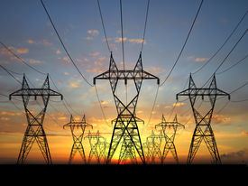 stock photo of electrical engineering  - 3D Electric powerlines over sunrise sky power - JPG