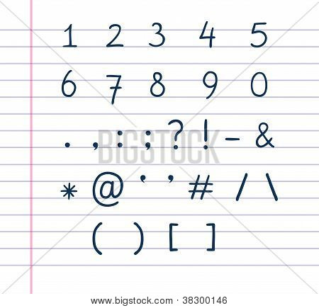 Handwritten Text Symbols On Lined Paper