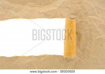 Brown Paper Crumpled Torn With Copy Space For Text