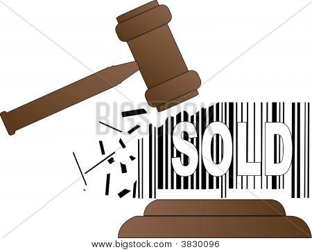 Gavel Smashing Sold Barcode.