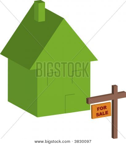 House With For Sale Sign.