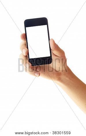Isolated Hand Holding Smartphone Or Phone