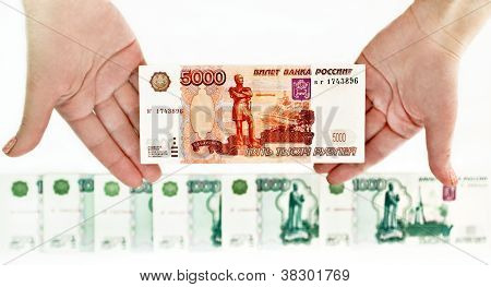 The Russians large bills.