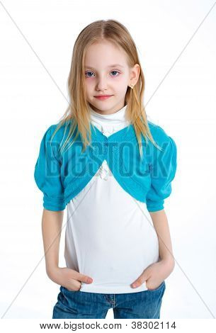 cute little girl in white and blue clothes