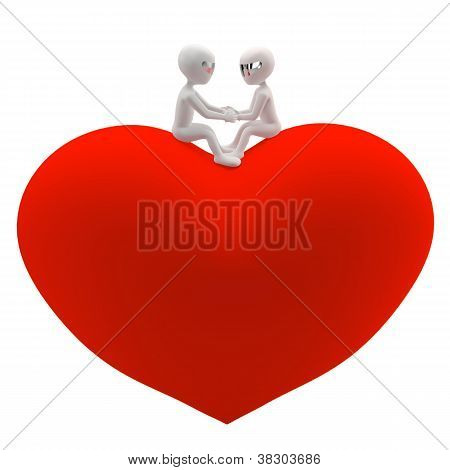 Two 3D Small Man And A Woman Sitting On A Red Heart. Holding Hands And Looking At Each Other.