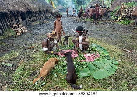 Pig Festival In Dani Village. Dugum Dani People.