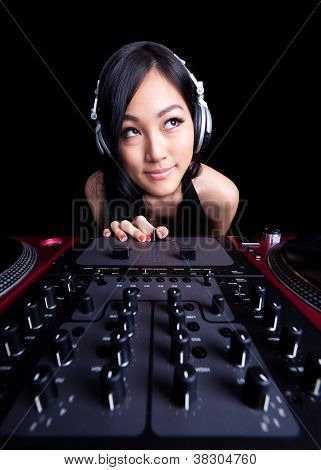 Wide Angle Female Dj On The Decks