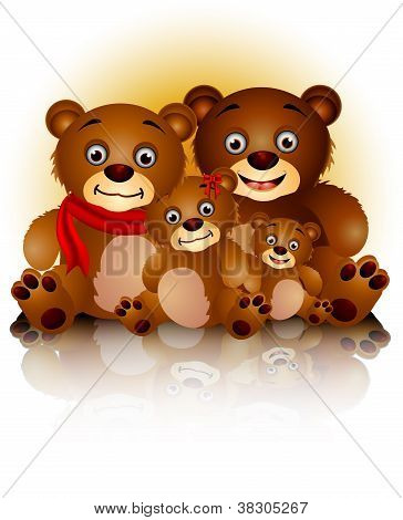 happy bear family in harmony and love