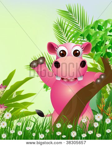 cute hippo cartoon smiling