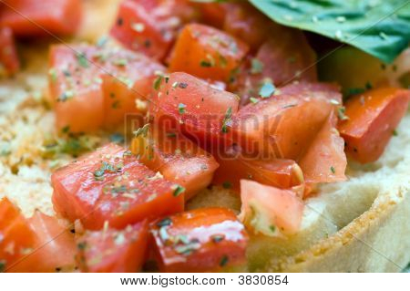 Fresh Bruschetta Chopped Tomato Basil Close-Up