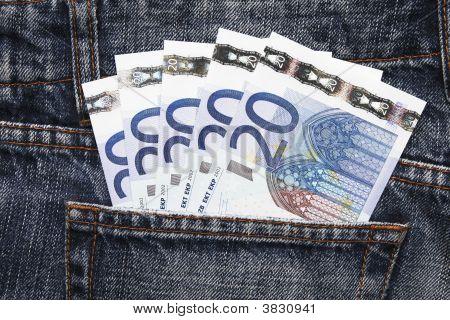 Euro Pocket Money In Blue Jeans