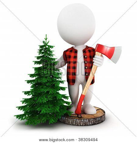 3d white people lumberjack