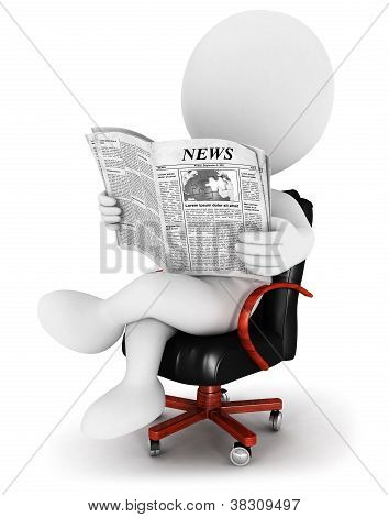 3d white people with a newspaper
