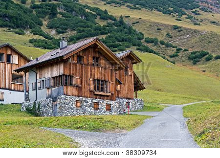 Wooden houses in Malbun in Lichtenstein