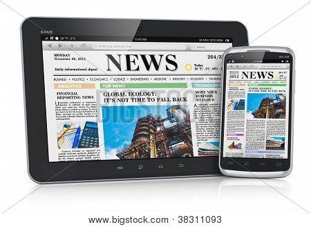 3D illustration of tablet PC and smartphone with business news