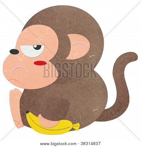 Rice Paper Cut Cute Monkey With A Banana