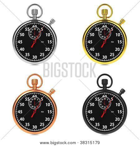 Stopwatch Set on White Background.