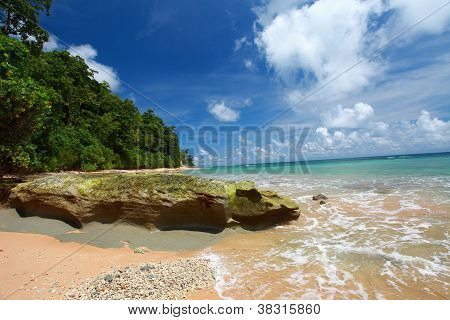 Neil Island Beach And Blue Sky With White Clouds, Andaman Islands - India