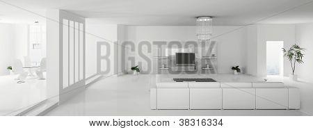 White Apartment Panorama 3D