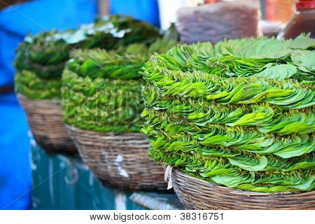 Green Leaves In Local Market In India.