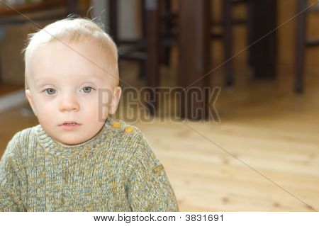 Sad Baby Boy Indoor Place For Text