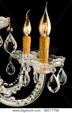 Closeup Contemporary glass chandelier