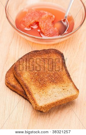 Toast From Bread With Jam And Spoon