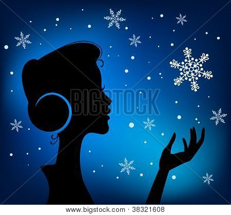 Christmas Eve Background. Profile Silhouette Of Pretty Young Girl Listening To Song Melody In Headph