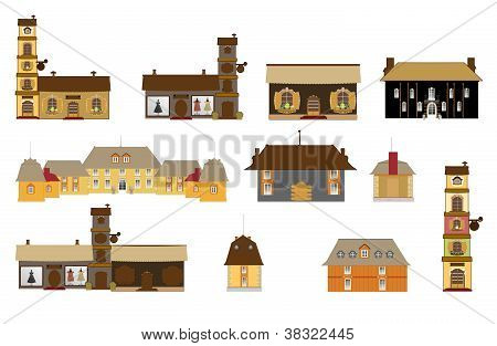 original houses, icons, signs, vector
