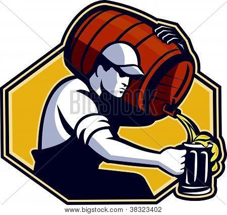 Arbeiter der Barkeeper Gießen Becher Bier vom Fass