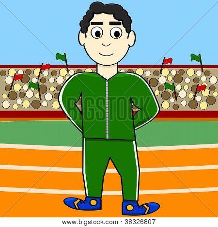 Atleta de desenhos animados