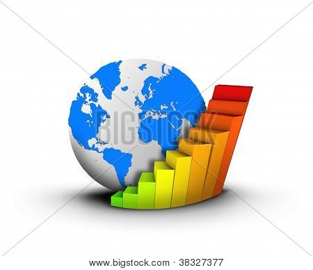 Globe and chart business concept