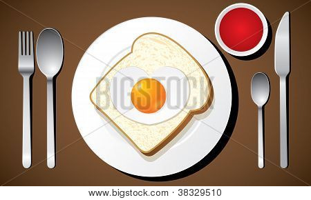 Toast with a heart-shaped fried egg vector