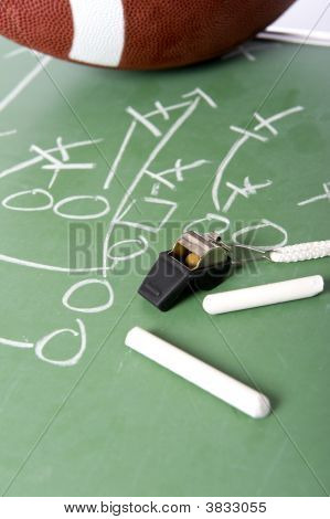 Football Play On Chalkboard