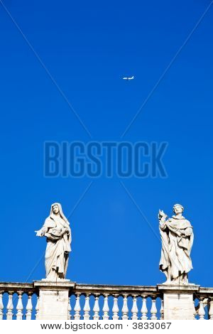 White Classical Statue And Flying Air In Blue Sky, Rome, Italy