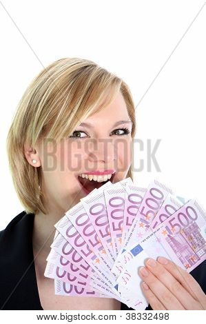 Gleeful Woman With 500 Euro Notes