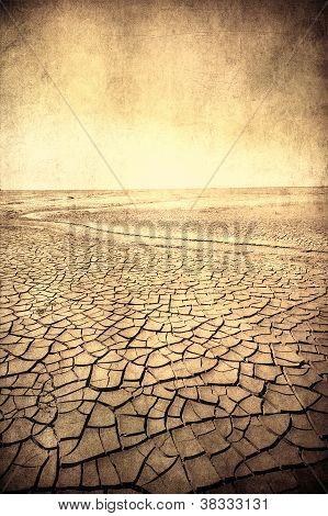 Grunge Image Of Desert Landscape