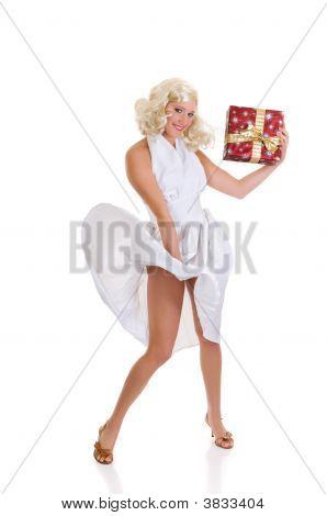 Woman White Dress Xmas