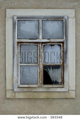 Broken Window In Winter