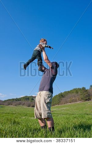 Father is playing with his son