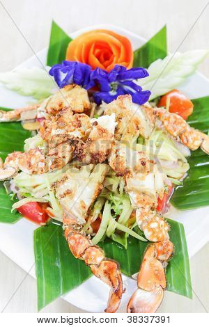 Thai seafood, crap salad with flower decoration